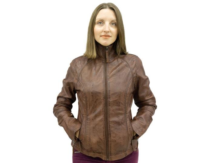 Brown leather jacket biker style