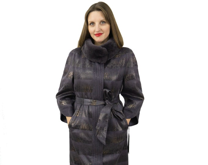 Ecological Leather Jacket for Women with Rex Rabbit Collar