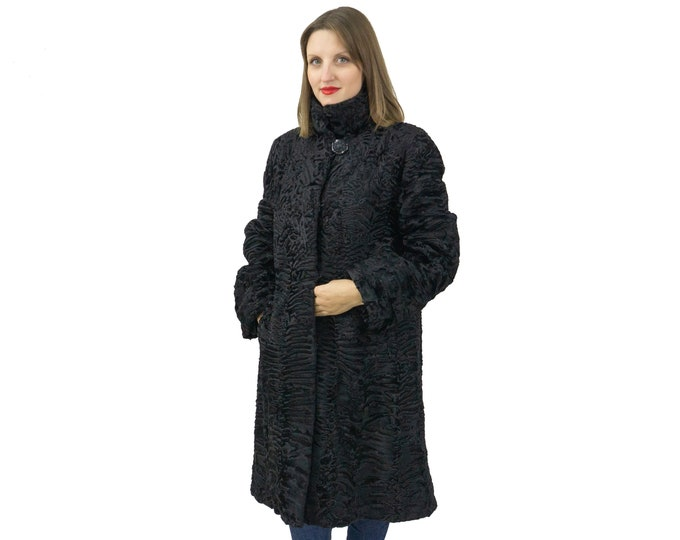 Astrakhan Fur Coat In Black In Classic Style F1142