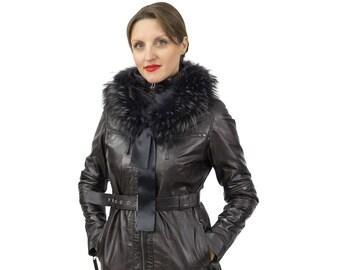 Black leather jacket with belt  F1148