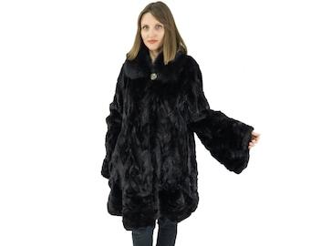 Plus Size Fur Coat,Black Woman Fur Coat
