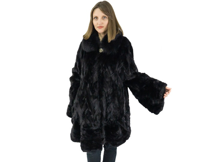 Plus Size Fur Coat,Black Woman Fur Coat