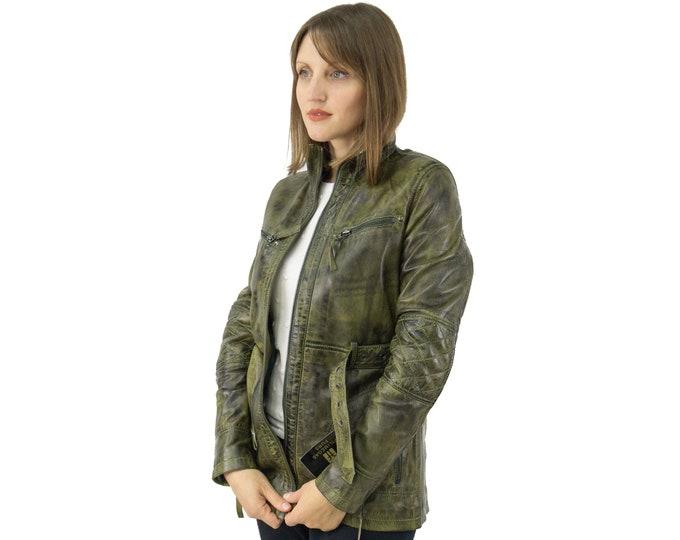 Green Haki Leather Jacket