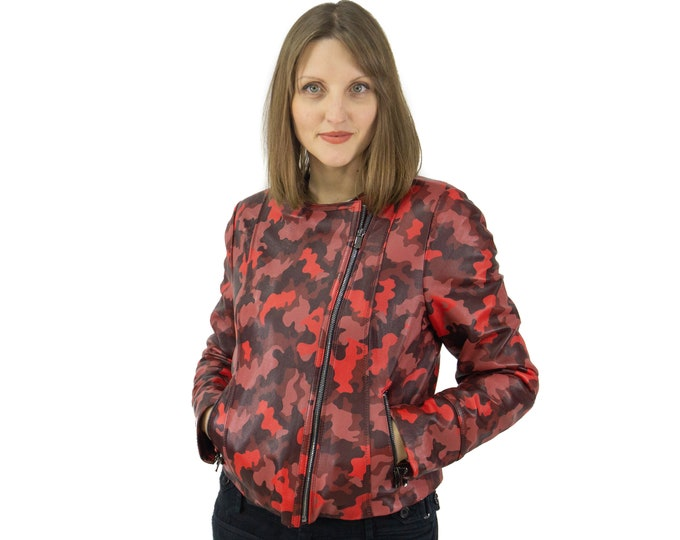 Leather jacket with red stamp