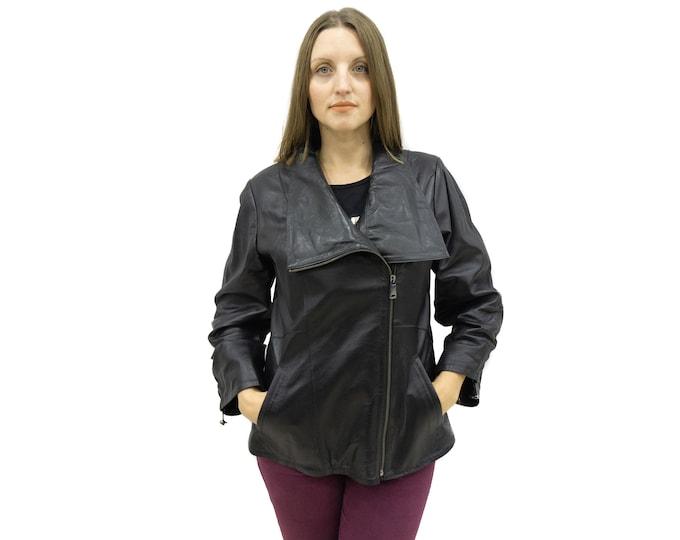 Black leather jacket with asymmetric zipper