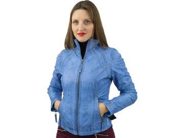 Blue Leather Jacket Biker Style