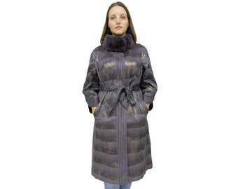 Ecological Leather Jacket for Women with Rex Rabbit Collar F1072