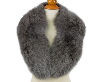 Real Large Fox Fur Collar,Gray Fur for Leather Jacket