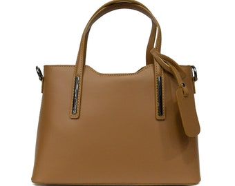 Genuine Leather Bag, Brown Leather Bag With Silver matte Details