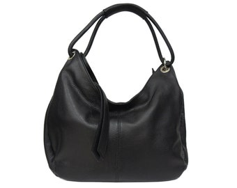 Genuine Leather Bag, Black Leather Bag With Silver Details