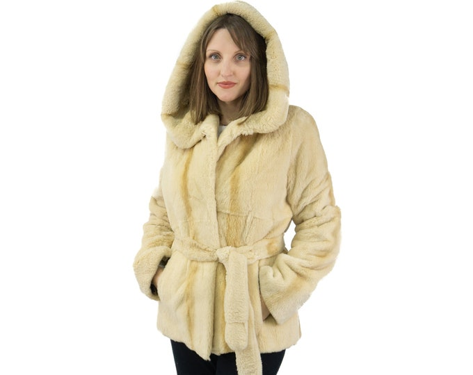 Beaver sheared fur jacket with hood and belt