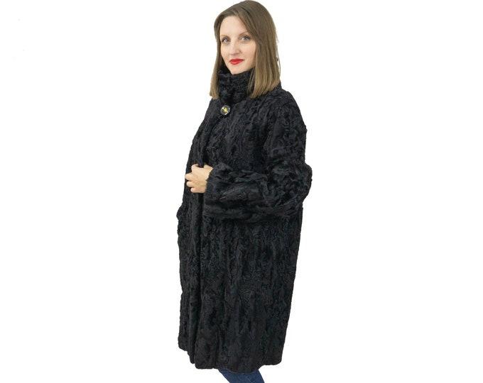 Astrakhan Fur Coat In Black In Classic Style