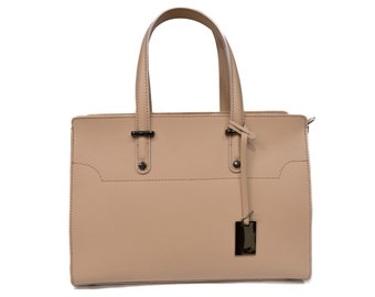 Genuine Leather Bag, Εcru Leather Bag With Silver Mat Details