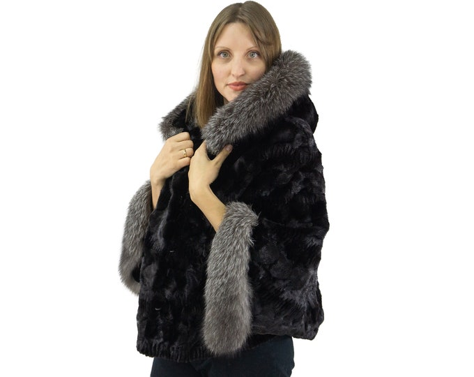 Cape mink sheared with hood and fox