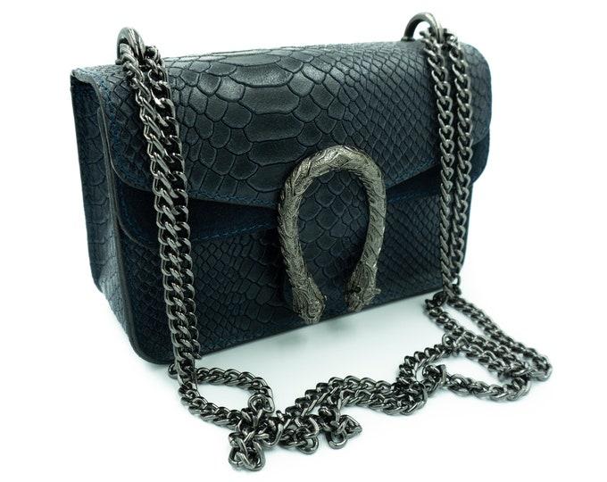 Leather Shoulder Dark blue Bag