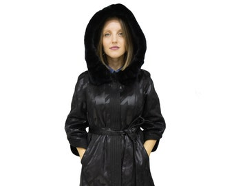Ecological Leather Jacket for Women with Rex Rabbit Hood
