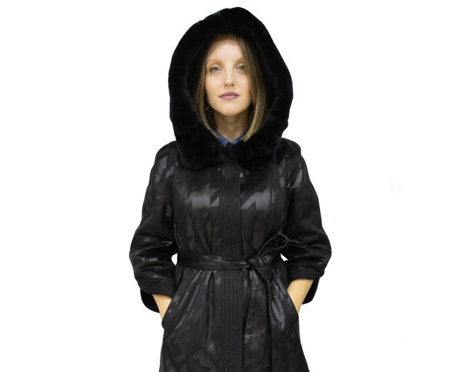 Featured listing image: Ecological Leather Jacket for Women with Rex Rabbit Hood