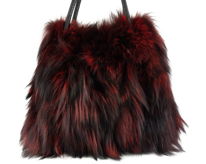 Real RedBlack fox fur tote bag F906