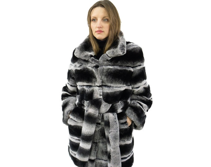 Fur Jacket Rabbit Rex Chinchilla with belt