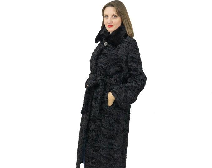 Astrakhan Fur Coat In Black with belt