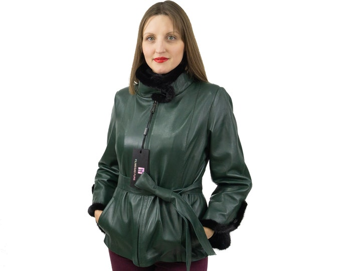 Green leather jacket with mink fur