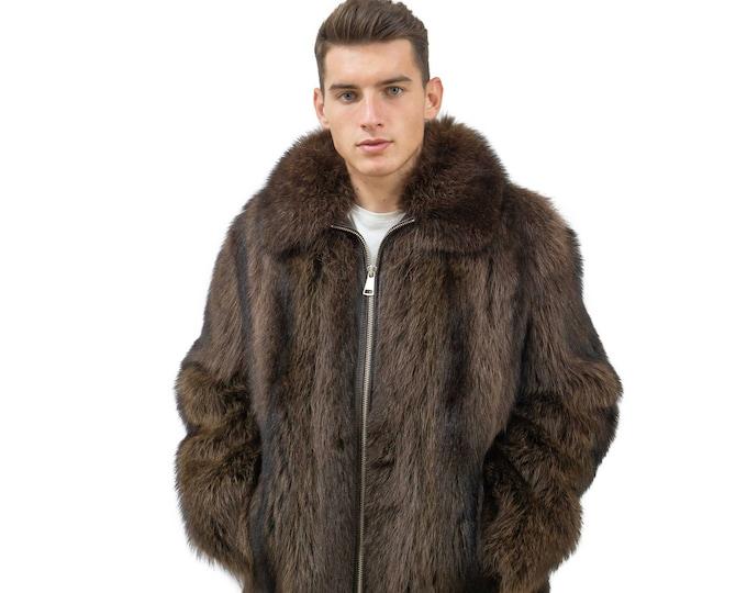 Real Fur Coat For Men | Raccoon Fur Jacket | Luxury Gift For Men