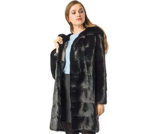 Mink Full Skin Pelt Coat,Hooded Long Coat F983