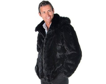 Real Rabbit Fur Jacket For Men F899
