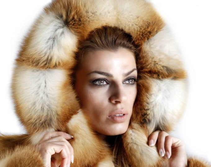 Real Fur Fox Jacket with Hood,Canadian Fox Fur Coat F365