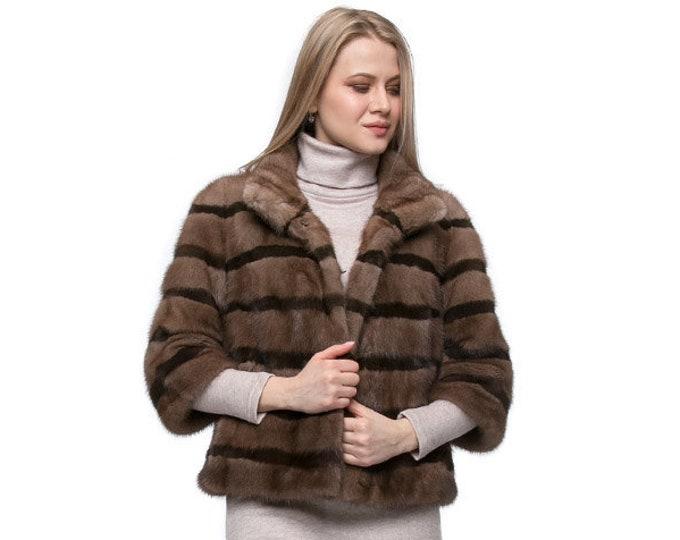 Short black Fur Jacket,Classy Style Mink Fur Coat F575