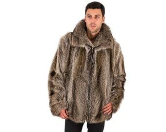 Real Raccoon Fur Jacket For Men F898