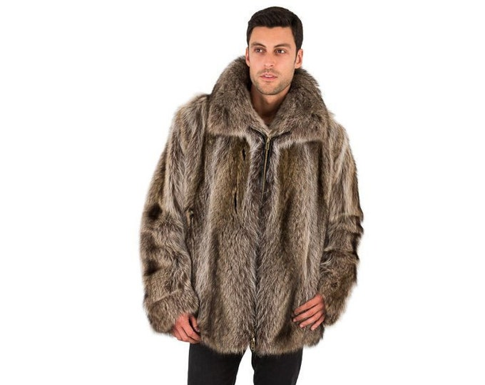 Real Raccoon Fur Jacket For Men F898