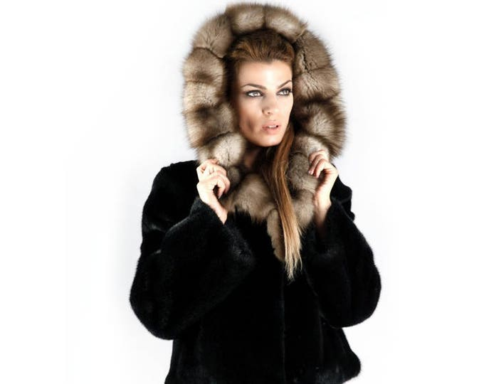 Real Mink Fur with Marten Fur Hood Jacket,Classy Black Fur Jacket F360