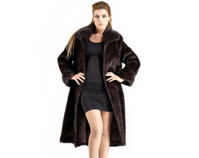 Long Mink Fur Coat, Mahogany Fur Coat F414