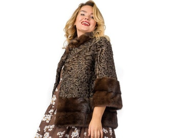 Real Astrakhan Karakul Fur with Mink Fur Jacket F969