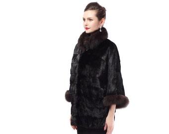 Sable Fur Jacket,Luxury Black Fur Coat F477