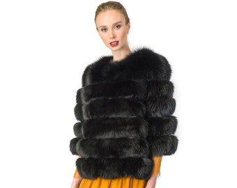 Luxury Fox Jacket with Rabbit Strips F904