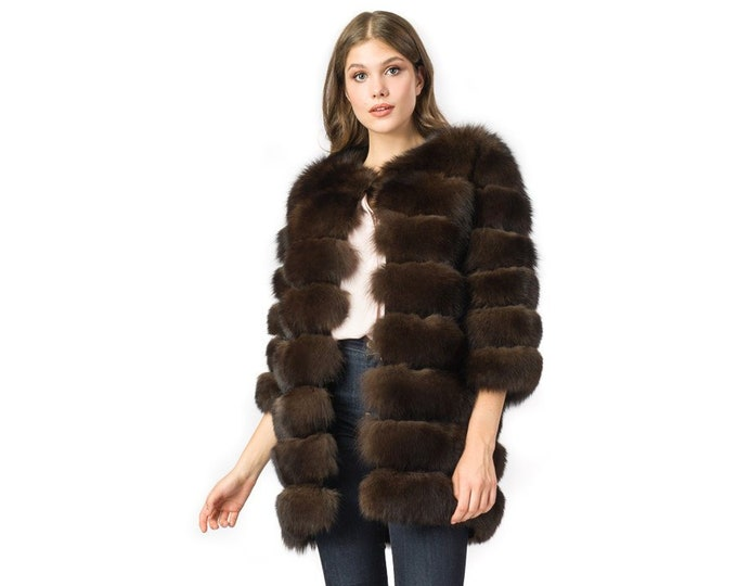 Real Fur Fox Jacket with leather Strips F889