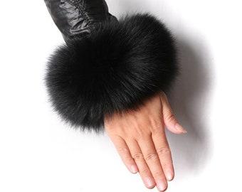 Real Fur Fox Cuffs - Black Fox Fur