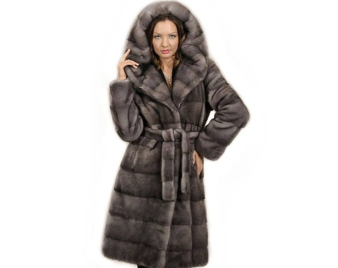Woman Hooded Fur Coat,Silver Blue fur Coat F826