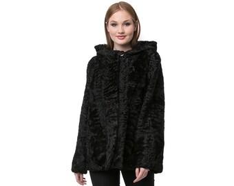 Real Karakul Fur with Hood Jacket F902