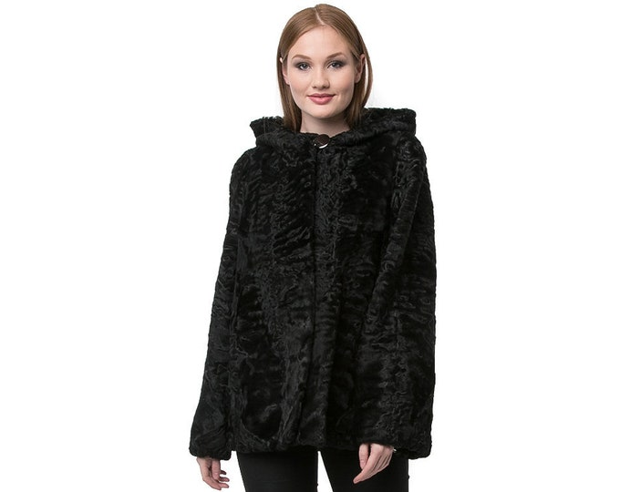 Real Karakul Fur with Hood Jacket F902