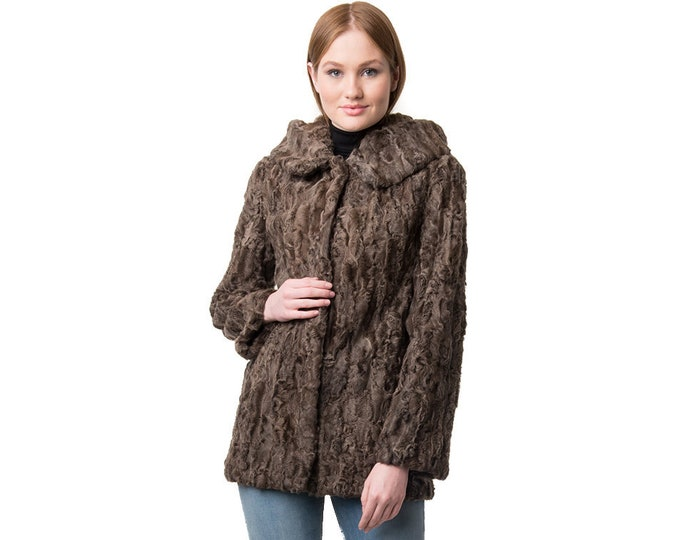 Real Karakul Fur with Hood Jacket F903