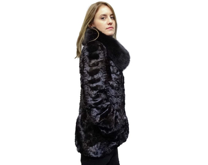 Mink Coat with Fox Collar,Sheared Mink Coat