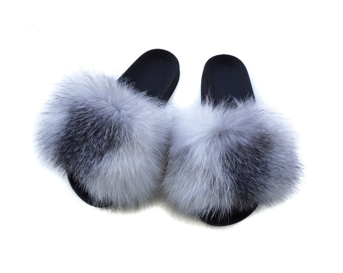 Fashion Fox Fur Slides, Fur Slides F934