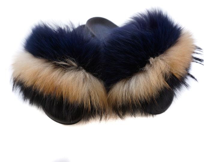 Fashion Fox Fur Slides, Fur Slides F1014