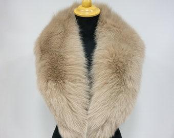 Fur Collar Gift For Her   Natural Fur Fox Accessories   Beige Fur Collar