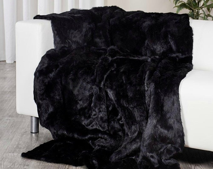 Black Rabbit Fur Blanket, Fur Throws F981