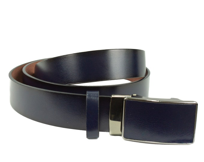 Men's leather belt with mechanical lock in blue-black