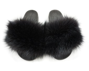 Fashion Fox Fur Slides, Fur Slides F881